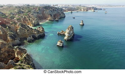 Aerial from natural rocks in Lagos Portugal