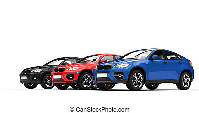 Blue, Red, Black SUVs