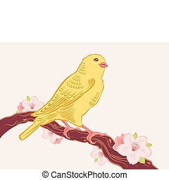 bird on a branch - Vector hand drawn yellow canary bird on...