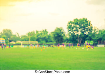 Abstract blur Soccer game Filtered image processed vintage...