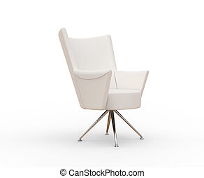 Modern white armchair - front view