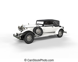 Old white vintage car - side view