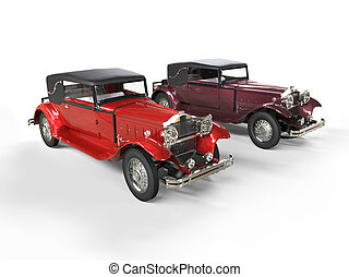 Red classic vintage cars - Red and burgundy classic vintage...