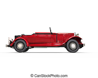 Red vintage covertible car - side view