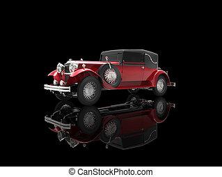 Crimson vintage car on black reflective background