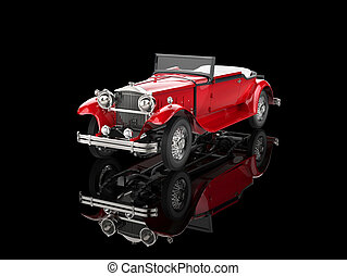 Red vintage car on black - Red vintage car on reflective...