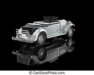 Silver vintage car on black - Silver vintage car on...