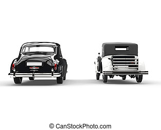 Vintage cllassic cars - rear view - Old vintage cllassic...