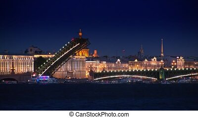 Trinity Bridge at night, St.Petersburg
