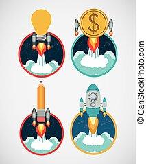 Start up design - Start up concept: Entrepreneur icon...