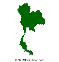 Thailand map isolated on white background.