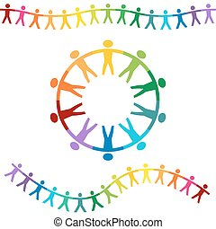 Rainbow People Holding Hands Banners