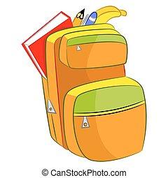 Cartoon Student Book Bag - An image of a cartoon student...