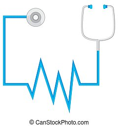 Stethescope Monitors Blood Pressure Icon - An image of an...