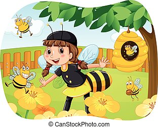 Girl in bee costume playing in the park