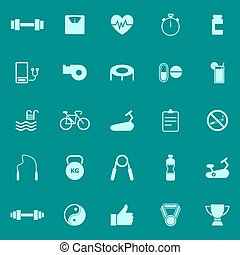 Fitness color icons on green background