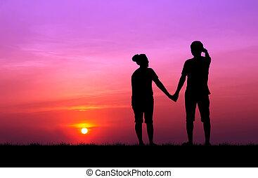 bello, tramonto, coppia,  silhouette
