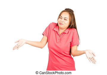 Laughing Asian Woman Shrugging Shoulders