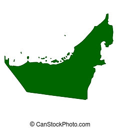 United Arab Emirates map isolated on white background.