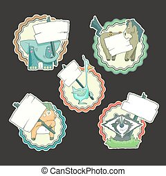 Hand-drawn cartoon vector collection of stickers animals with posters