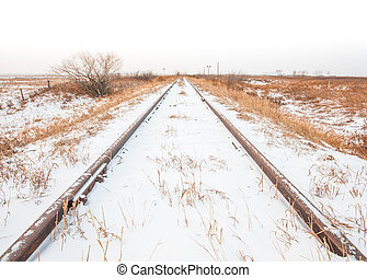 Landscape of Snowy Train Tracks - Landscape of snowy train...