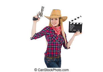 Woman holding clapperboard isolated on white