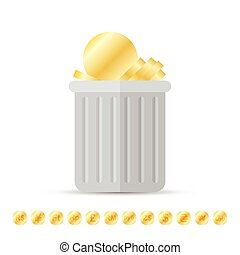 Coins on Trash - Vector illustration of gold coins thrown...