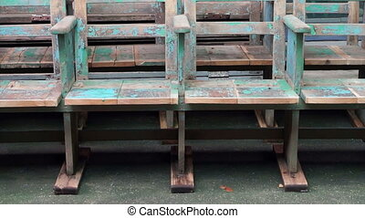 old wooden texture blue chairs - Video of old wooden texture...