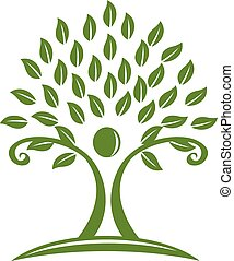 Logo green tree hands childcare