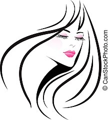 Logo pretty woman  - Face girl woman logo vector