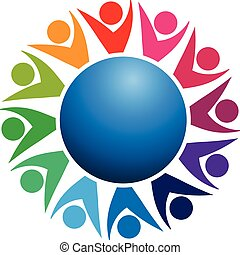 Logo teamwork world business people