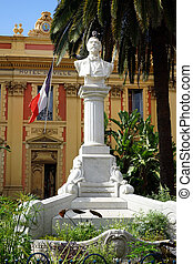 Bust - MENTON, FRANCE - CIRCA JULY 2015 Bust near facade of...