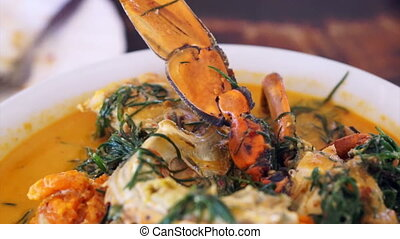 Thai seafood spicy curry soup - Thai cuisine, Seafood blue...