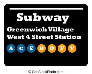 Greenwich Village subway sign - Greenwich Village West 4...