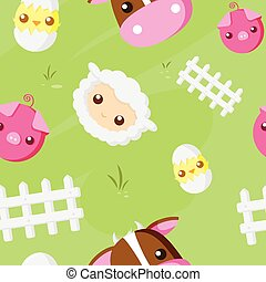 Cute Farm Animals pattern - Cute Farm Animals repeat pattern