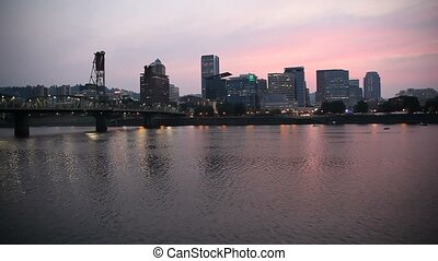 Portland Oregon City Skyline Sunset - Portland Oregon...
