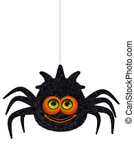 Cartoon spider - 3d illustration isolated on the white...