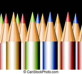 Pencils - Many colored pencils on black background....
