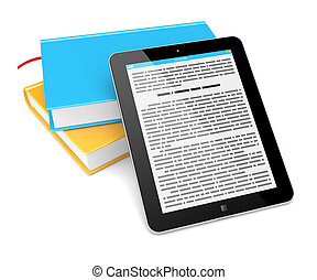 E-book reader concept Tablet pc computer and a colorful...