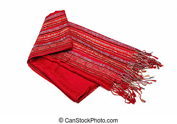 scarf - red woman scarf isolated at white background...