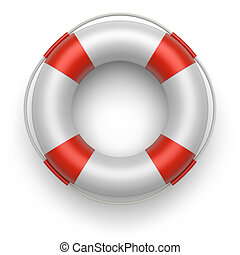 Lifebelt 3d - Lifebuoy on a white background 3d image