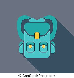 Rucksack. Single icon. Vector illustration. icon. Flat...