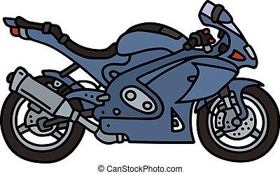 Dark blue motorbike