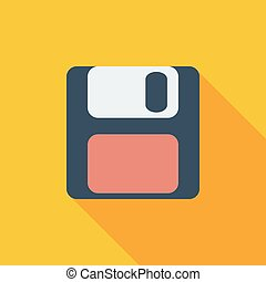 Magnetic floppy disc icon. Flat vector related icon with...