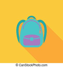 Schoolbag icon Flat vector related icon with long shadow for...