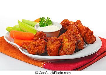 Buffalo Wings - Plate of hot and spicy buffalo chicken...