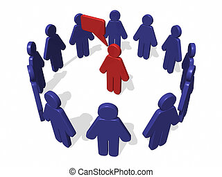 3D Circle Men dialog - 3D Image with circle men in blue and...