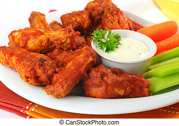 Spicy Wings - Hot and spicy buffalo chicken wings with fresh...