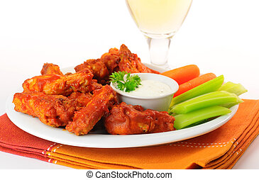 Hot Chicken Wings - Hot and spicy buffalo chicken wings and...