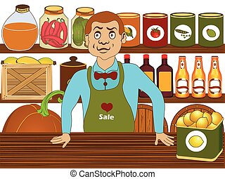 Grocery store salesman - Vector illustration of a grocery...
